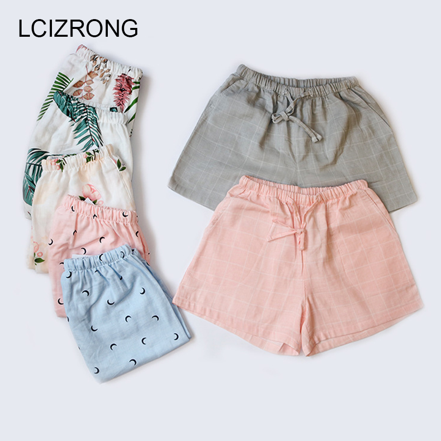 Summer Print Cotton Sleep Bottoms Women M-XL Plus Size Harajuku Comfortable Pajama Pants Drawstring Loose Home Shorts Mujer