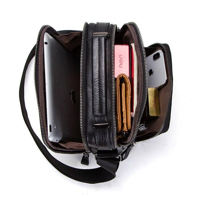 CONTACT'S 100% genuine leather men shoulder bag crossbody bags for men high quality bolsas fashion messenger bag for 9.7 3