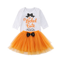 41f87e174c Newborn Baby Girls Halloween Long Sleeve Letters Rompers+TuTu Skirt Orange  Outfits Set Clothes