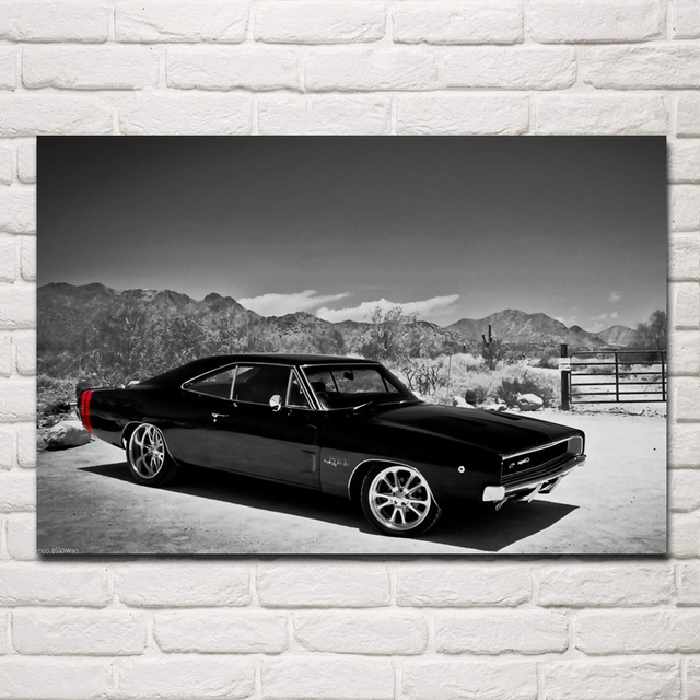 Classis Retro American Muscle Sports Car 1970 Living Room Home Wall Modern Art Wood Frame Fabric Posters