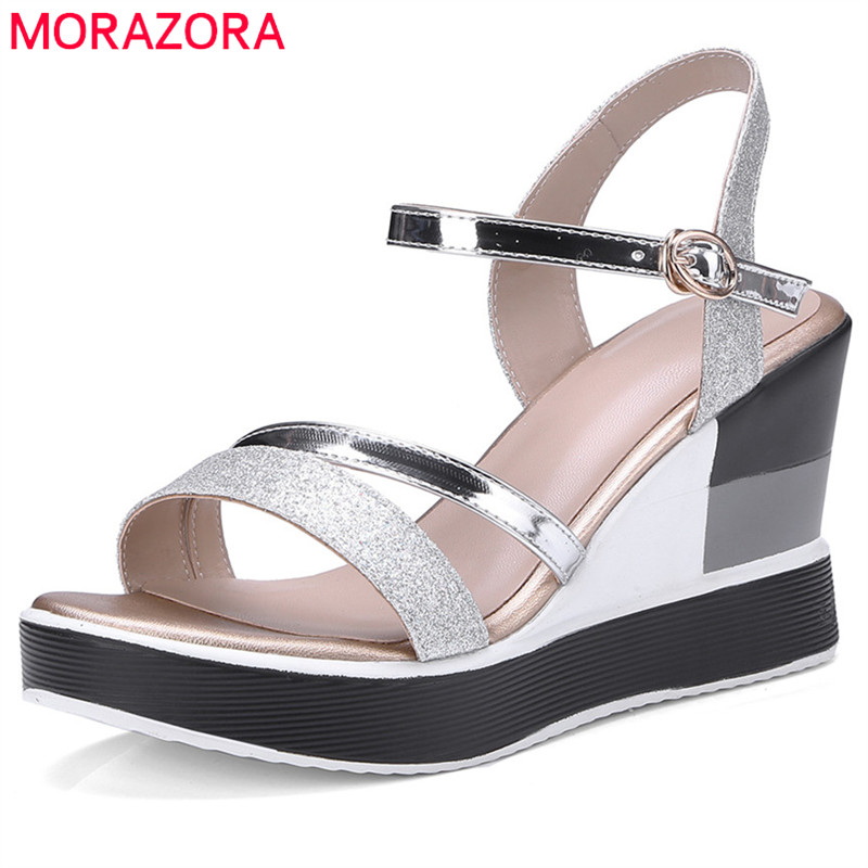 MORAZORA 2018 new arrive women sandals mixed colors fashion shoes simple buckle peep toe comfortable wedges summer shoes summer new casual flat women sandals fashion wedges mixed colors women sandals comfortable peep toe sandalias woman shoes mujer