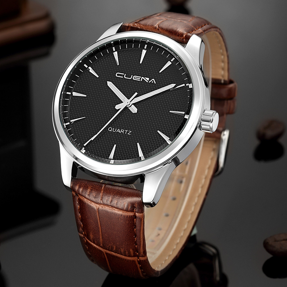 CUENA Men Wrist Watch Fashion Leather Sport Quartz Noctilucent Stainless Steel Watches Man Watch Mens Creative Relogio Masculino