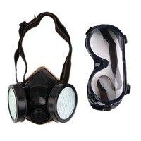 Safurance Schutz Filter Dual Gasmaske Chemische Gas Antistaubfarbe Atemschutzmaske mit Brille Arbeitssicherheit
