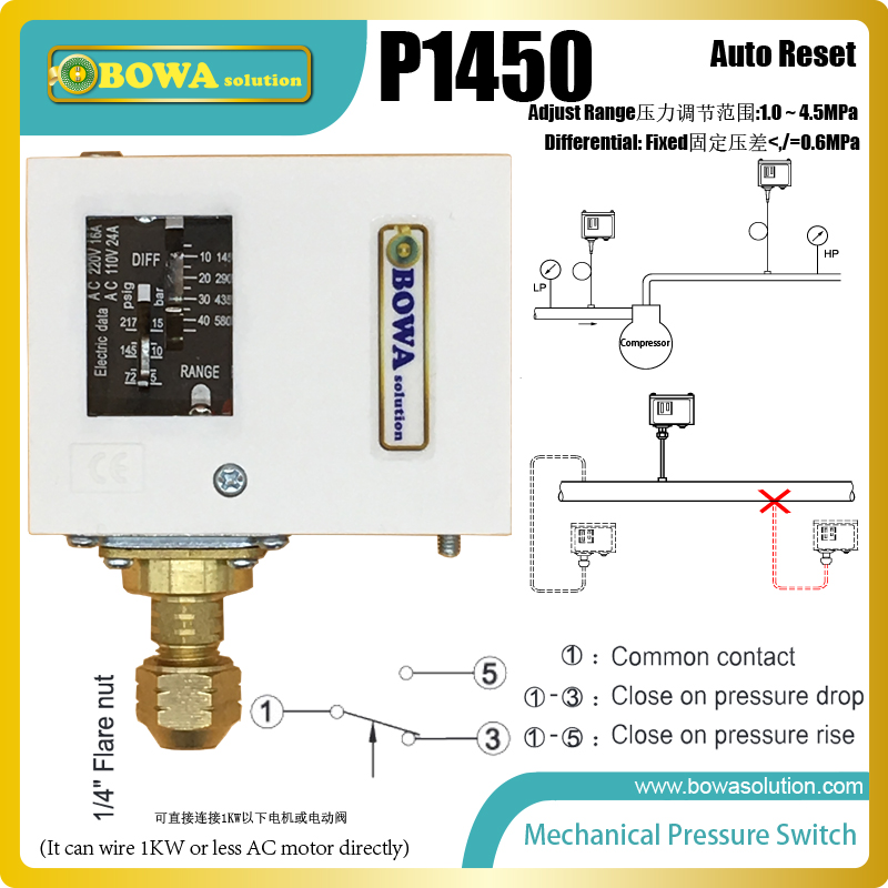 1~4.5MPa auto reset pressure controls with fixed differential installed in R410a heat pump replace Parker controls