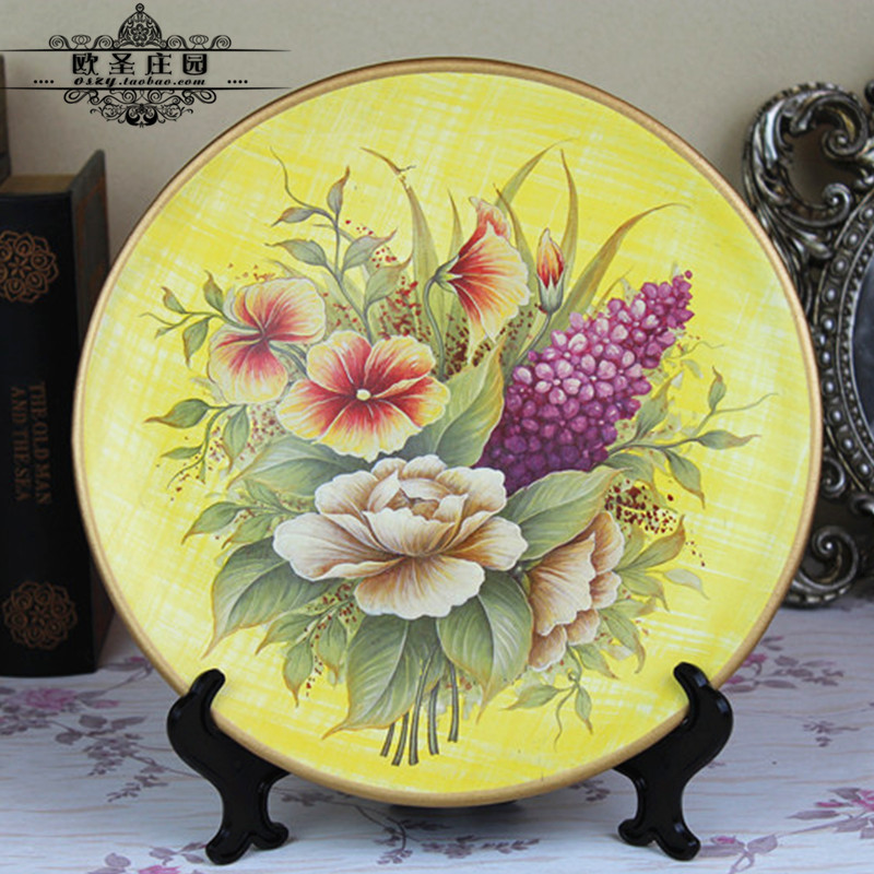 Free shipping, Fashion colored drawing ceramic decoration plate ...