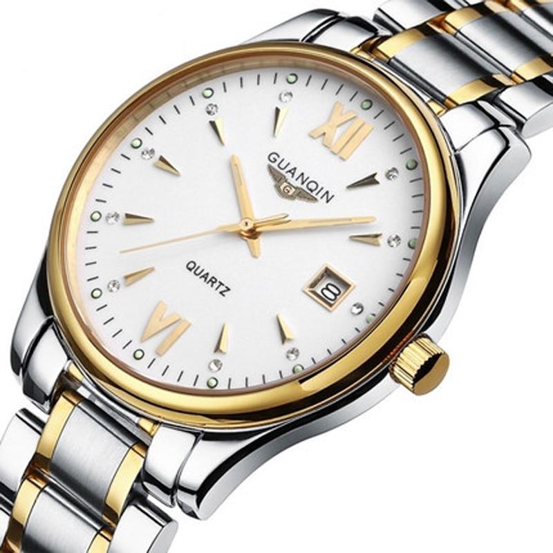 ФОТО Watch Men luxury hot brand GUANQIN  fashion Men's Quartz Watch Casual Watch Dress watch Men Steel Wristwatch relogio masculino