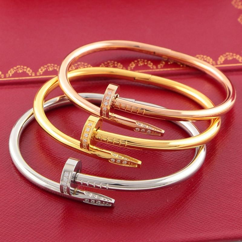 Classique marque titanium acier amant de nail carter amour bracelet bracelet pour femmes hommes graver logo original wholealse top qualité