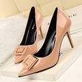 New Summer Women Elegant Sexy Pumps Thin Heeled OL Women High Heels Shoes Pointed Patent Leather Square Buckle Shoes G806-3