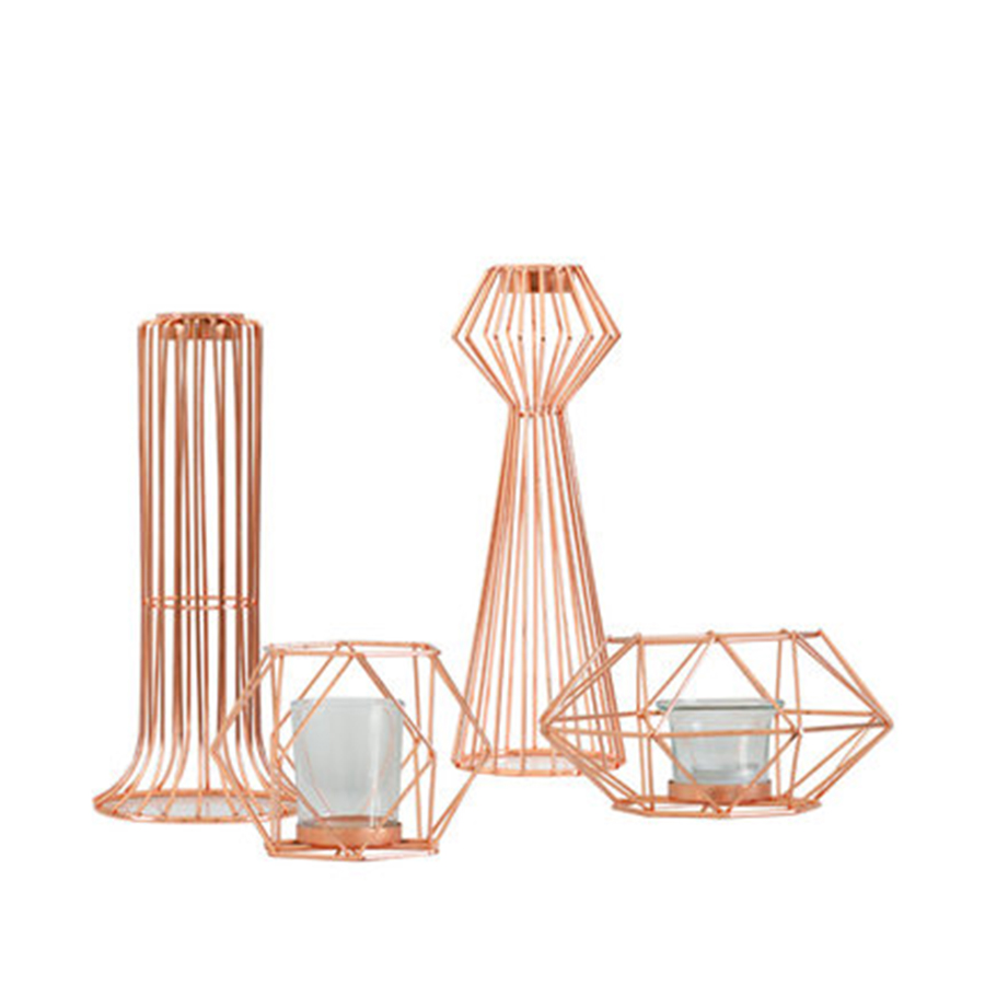 Simple Candlestick Nordic Gold Candle Holders Lantern Metal Nordic Decoration Home Portavelas Geometric Candle Holder 50KO236