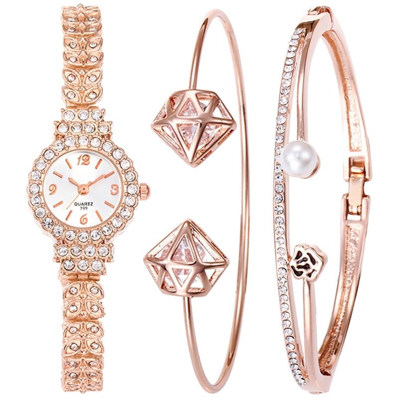 LASPERAL 2/3pcs Luxury Simulate Peal Bangle Set Gift Women Watch Bracelet Full Rhinestone Jewelry Fashion Steel Strip Wristwatch