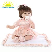 NEW 15in Silicone Reborn Baby Rebirth Doll Kids Gift Cloth Material Body Synthetic Hair Toys for Kids Children top quality