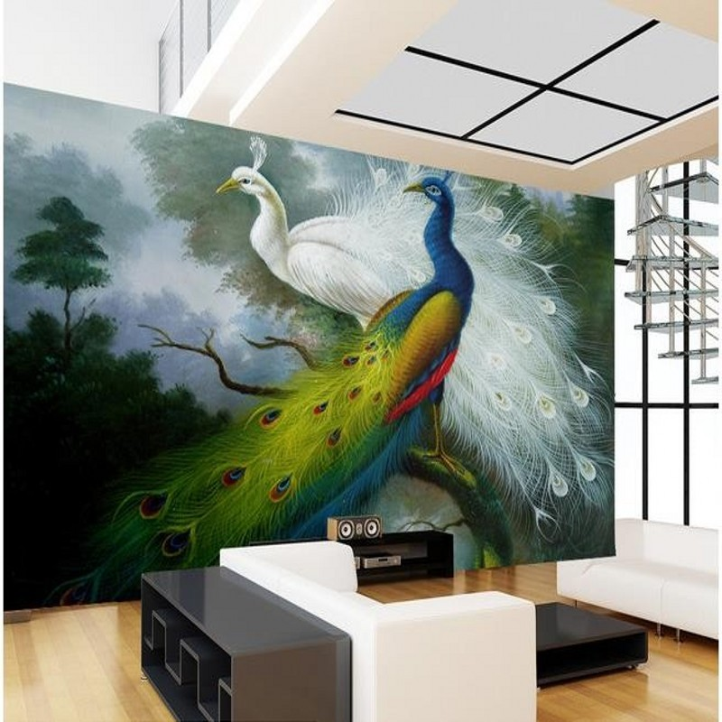 Beibehang Custom Photo Wallpaper 3D Stereo Peacock Murals Living Room Bedroom Wall Papers Home Decor Papel De Parede In Wallpapers From