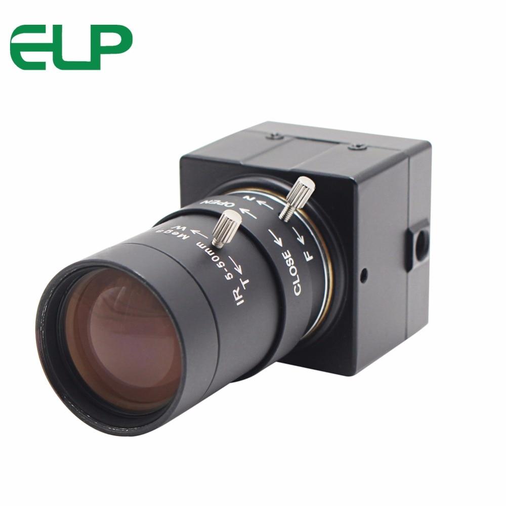PEL pilote Libre IMX179 CMOS 8mp mégapixels 2.8-12mm varifocal usb caméra de sécurité pour la vision industrielle