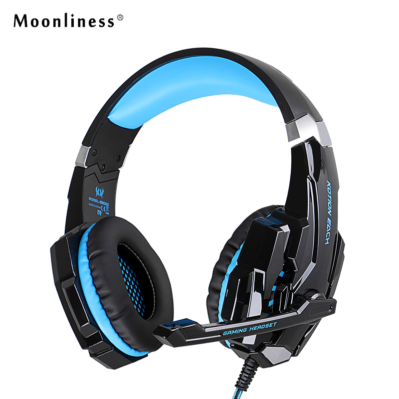 Moonliness NEW G9000 Gaming Headphone wired headphones Deep Bass Stereo Computer Game Headset LED Light with Mic Gamer 2017 hoco professional wired gaming headset bass stereo game earphone computer headphones with mic for phone computer pc ps4