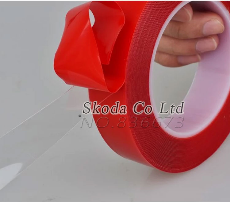 2pcs/lot Acrylic Adhesive Double Sided Tape Red Film Transparent tape 10mm*25M for Phone LCD Screen Battery Phone Display Lens