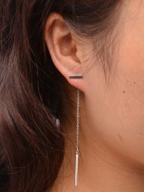 Minimalist Piercing Long Chain Drop Dangling Earrings Silver Gold Color T Bar Pending Earring For Women