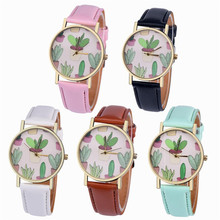 Womens Quartz Watches 1 PC Fashion PU Leather Analog Vogue Wrist Watch Cute Cactus Pattern Female