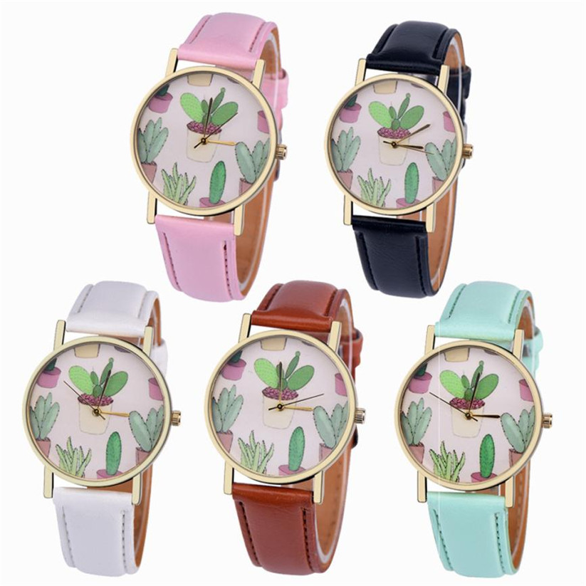 Womens Quartz font b Watches b font 1 PC Fashion PU Leather Analog Vogue Wrist font