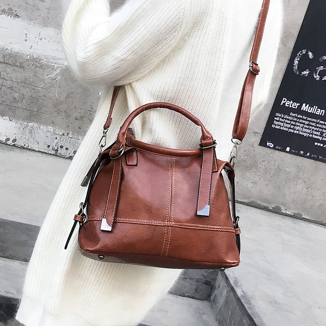 Vintage Oil Wax Leather Handbags For Women 2018 New Splice Tote Handbags  Women Small Crossbody Bags 54a1c6c0531fe