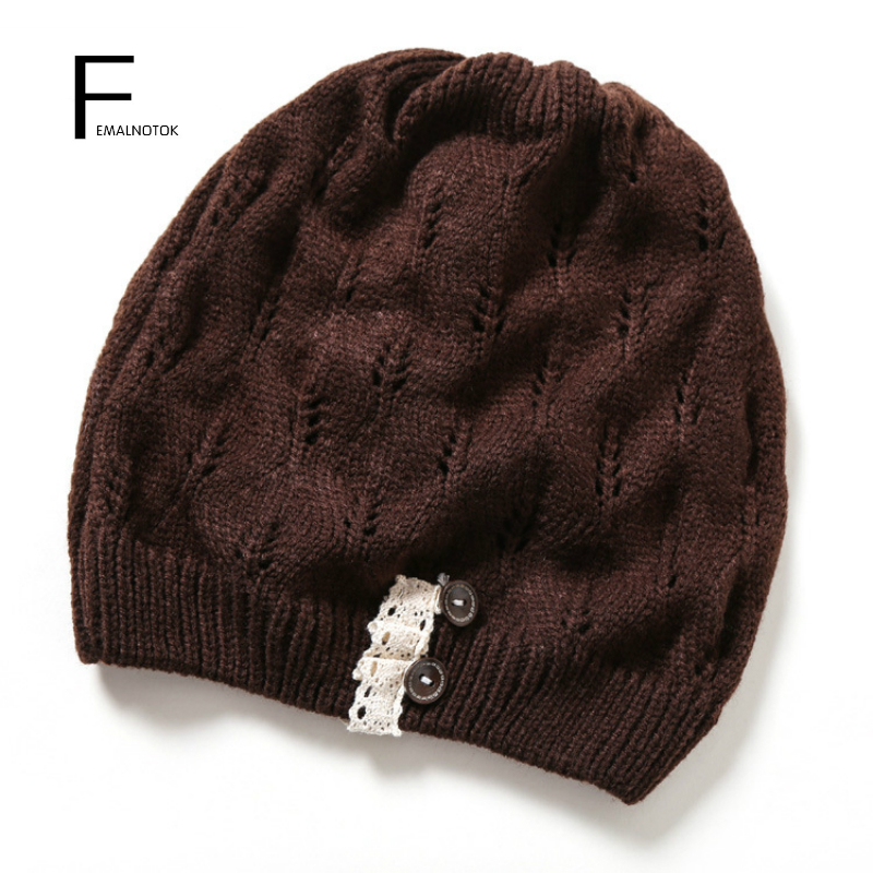 Fashion women knitted hat high quality solid color autumn and winter Skullies for women warm beanie hats