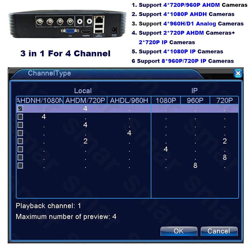 Mini 4CH 8CH 1080N AHD DVR 5 in 1 Hybrid DVR HVR Video Recorder Onvif XMEYE Cloud P2P Home Security 1080P NVR CCTV DVR System 3