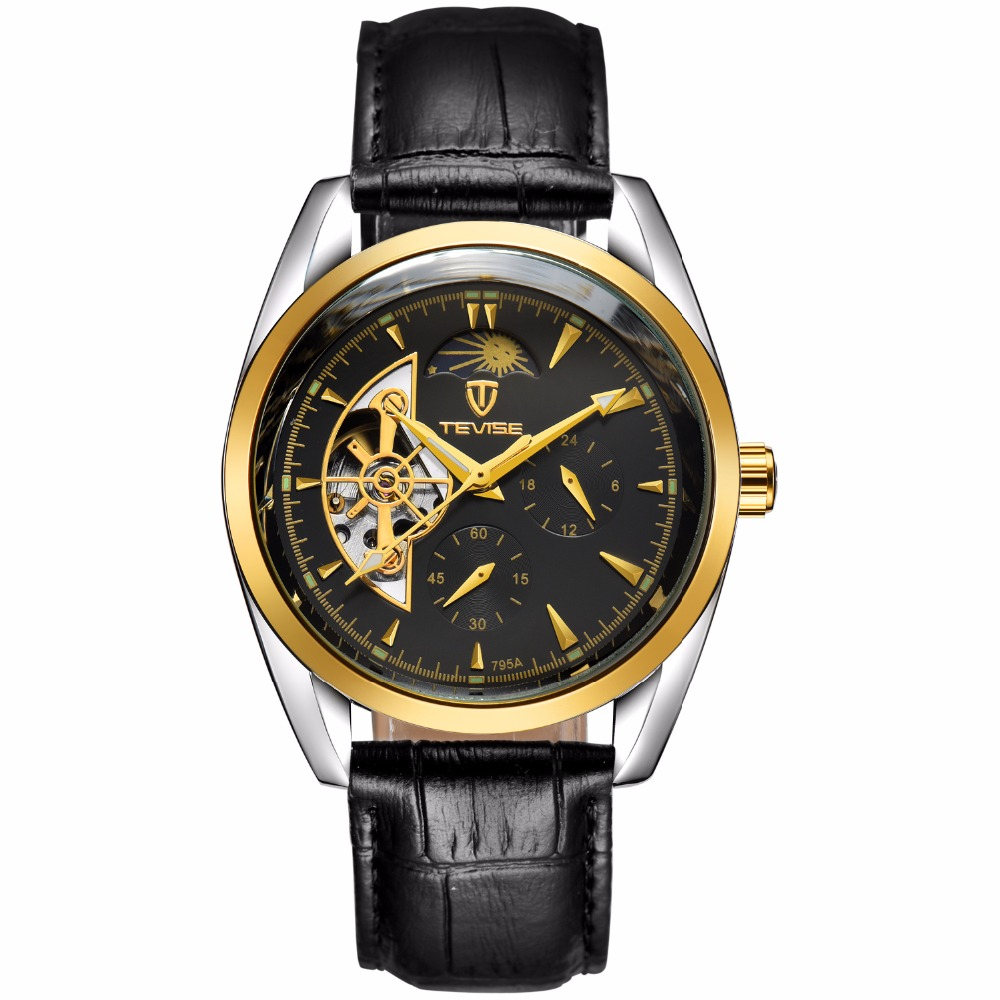 TEVISE Men Watch Top Brand Luxury Automatic Mechanical Watch Leather Business Watches Clock Men Relojes Masculino цена и фото