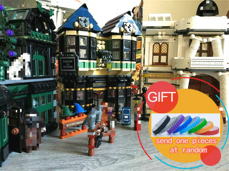 16012 2025Pcs Movie Series Harry Potter The Diagon Alley Set Building Educational Blocks Compatible with 10217 toys lepin harry potter ollivanders dumbledore the elder wand in box prop replica