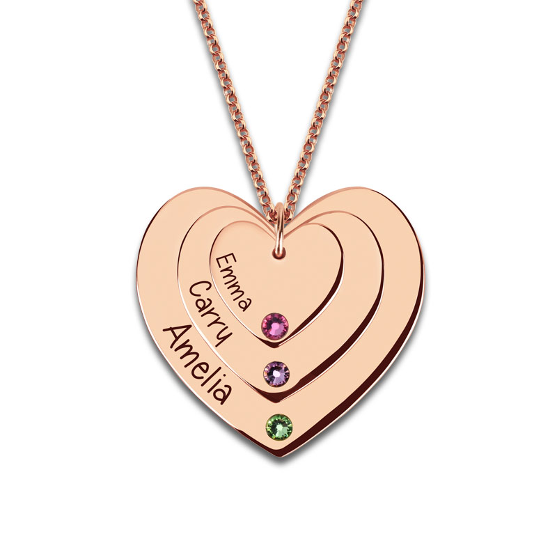 AILIN Customized Birthstones Triple Heart Necklace Engraved Family Name Necklace for Grandma Rose Gold Color Jewelry engraved family tree bracelet with birthstones rose gold color disc mother