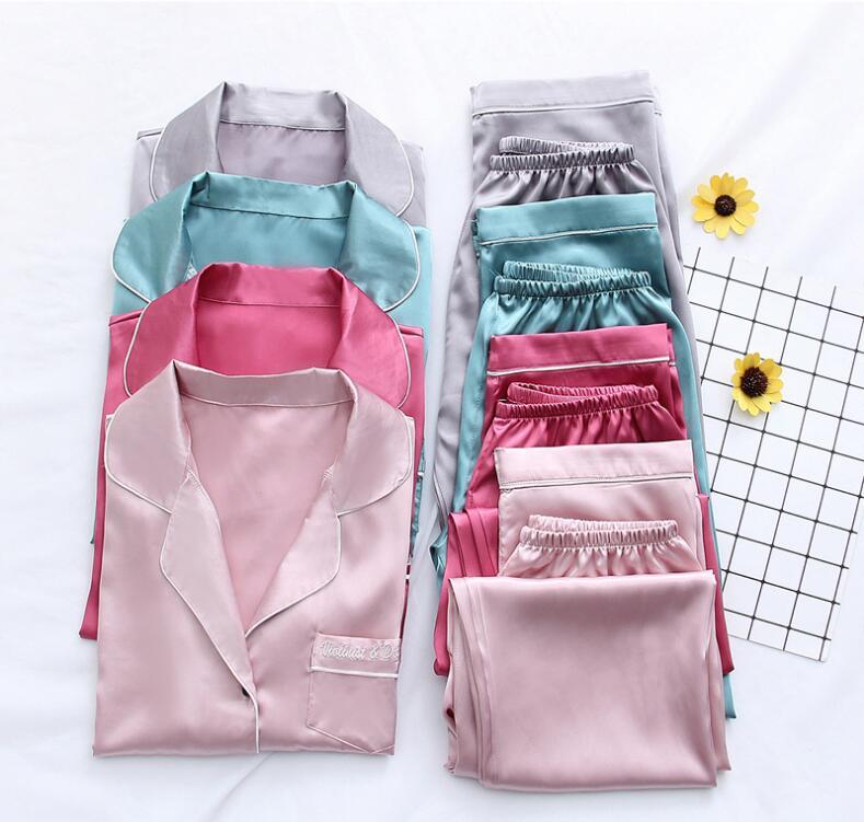 7 Piece Set Women Pajama Suit 2018 Spring Summer Silk Stain Sleepwear Tops and Shorts Pants Indoor Clothing Nightie Fit 65kg