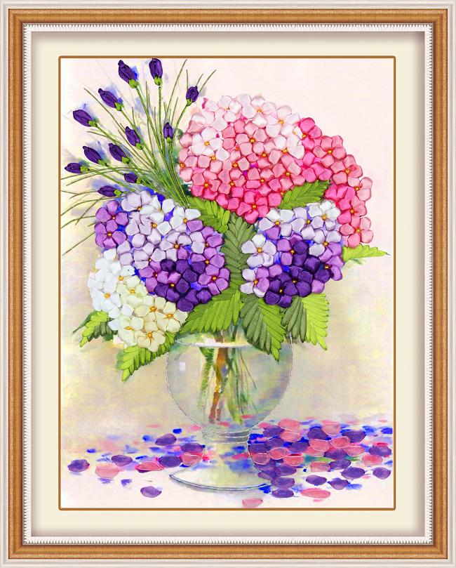 DIY 3D Ribbon Embroidery cross stitch kits sets handmade needlework / butterfly flower Hoom office Decor Arts picture paintings