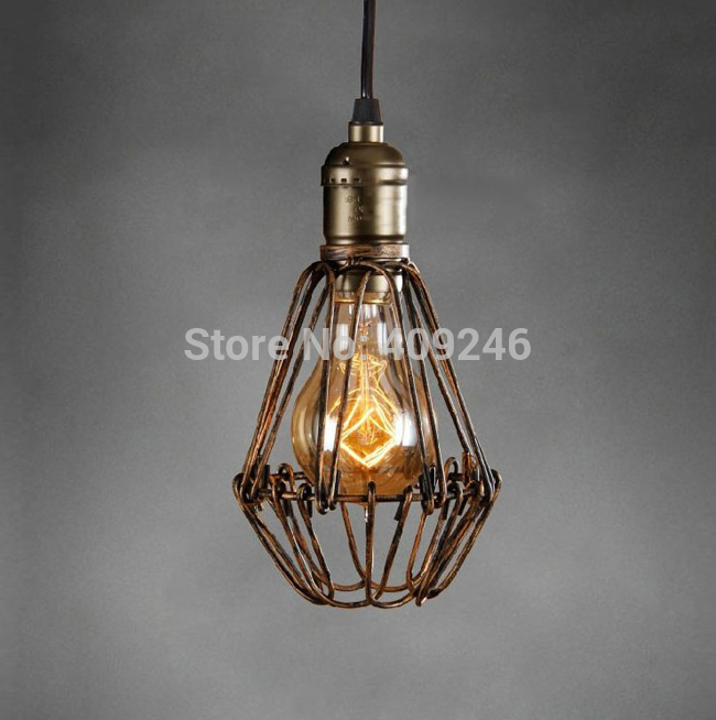 LOFT American Single Droplight Edison Tiny Cage Ceiling Lamp Coffee Shop Cafe Bar vintage loft industrial edison flower glass ceiling lamp droplight pendant hotel hallway store club cafe beside coffee shop