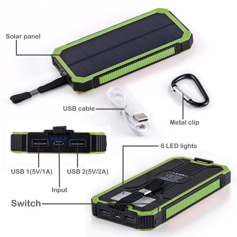 """""""PowerGreen Solar Powerbank"""" karabinų dizainas, dviejų uostų - Mobiliųjų telefonų priedai ir dalys - Nuotrauka 3"""