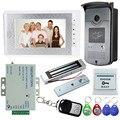 Скидкой! 7 ''Цвет Видео-Телефон Двери Домофон 1 Монитор + 1 RFID Доступ Камера + Магнитный Замок + Питание питания + Пульт Дистанционного Управления