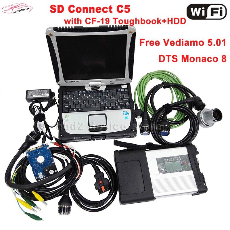 WiFi MB Star C5 pieno di chip con il nuovo SSD 12/2018 software Vediamo/DTS con CF19 del computer portatile obd2 diagnostico- strumento c5 scanner DHL