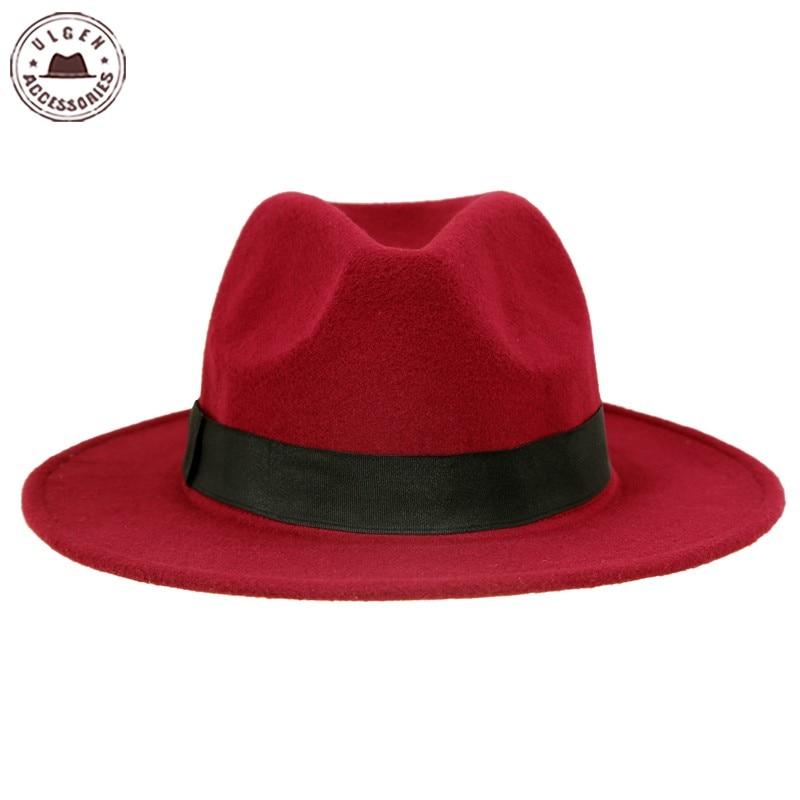 Vintage unisex Wolle Jazz Hüte große Krempe Filz Cloche Cowboy - Bekleidungszubehör - Foto 4