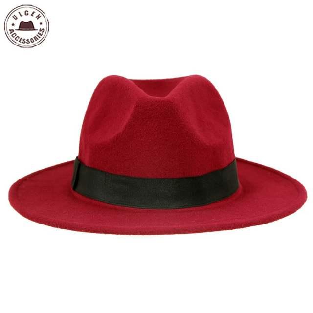 50bce1690 US $8.19  Vintage unisex wool Jazz hats large brim felt cloche cowboy  panama fedora hat for women black red trilby derby fedoras-in Men's Fedoras  from ...