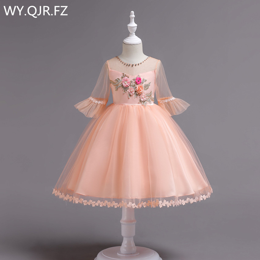BH726F#Ball Gown Pink   Flower     Girl     Dresses   European American short-sleeved embroidered children's princess   dress   cheap wholesale