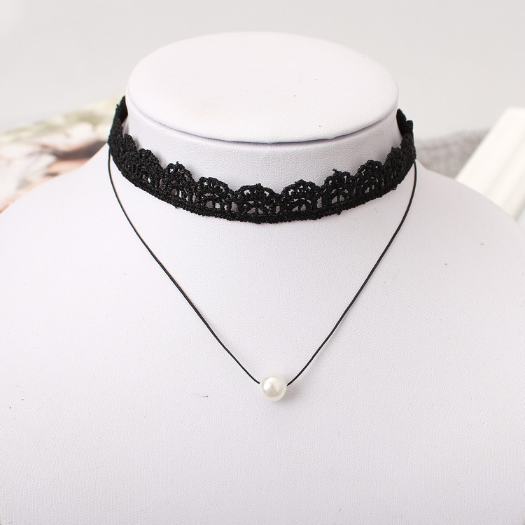 2018 Fashion Cloth Lace Tattoo Choker Necklaces Simulated Pearl Multilayer Black Short Choker Necklace For Women Jewelry
