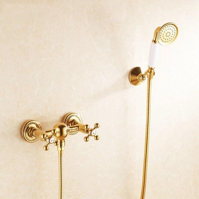 OWOFAN 1 Set Bathroom Rainfall Shower Faucet Set Classic Golden Dual Handle Mixer Tap Wall Mounted
