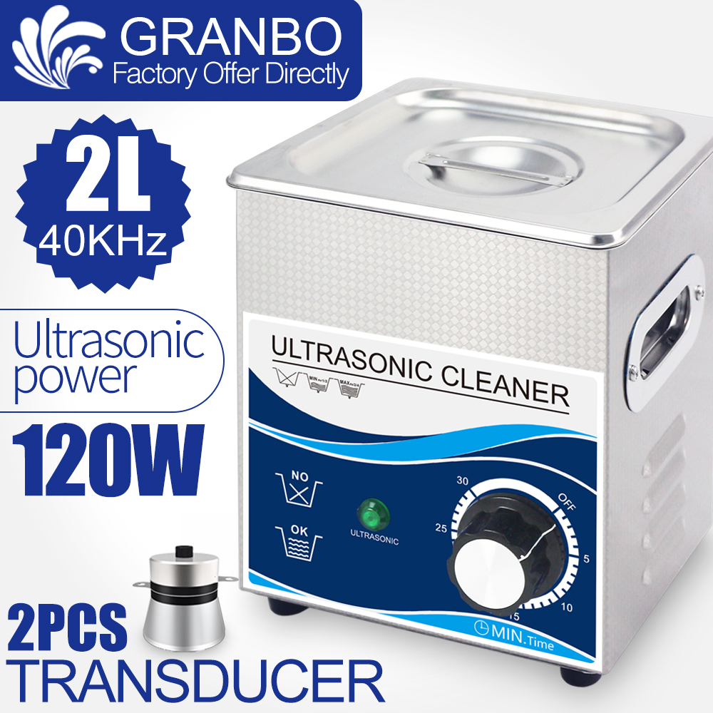 New 120W Ultrasonic Cleaner 2L Bath 40khz Heating Control Household Kitchen Use Tableware Jewelry Oil Nozzle Circuit Board Dust