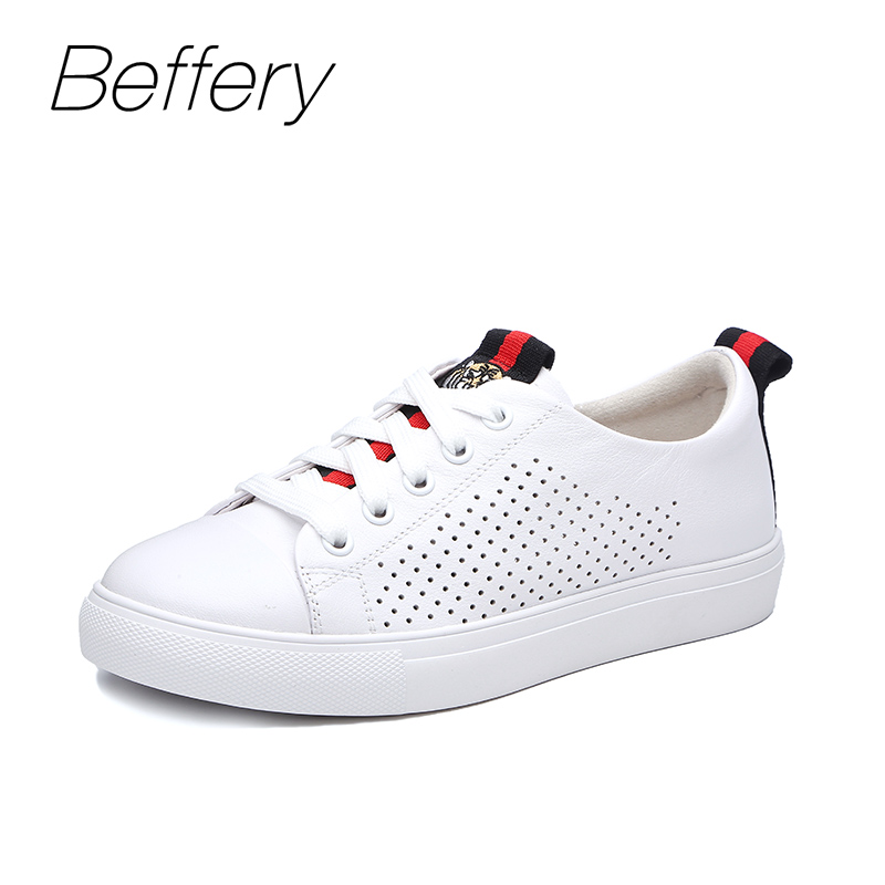 Beffery 2018 Summer Sneakers Women Genuine Leather Shoes Ultra-soft White Sneakers Casual Flat Shoes beffery spring summer genuine leather casual sneakers women flat breathable shoes fashion lace up shoes women platform shoes