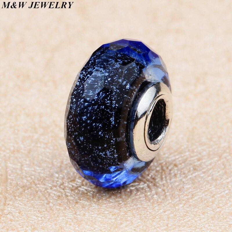 M & w ювелирные изделия 100% реальные 925 стерлингового серебра вскипание муранского Стекло Бусины подходят оригинальный Пандора браслет Аутен... ...