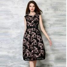 2016 Summer New Fashion Leisure Women s Clothing Female Waist Slim Elegant  Sleeveless Dress Organza Vest Jacquard Vestidos Dress 22fcc812b33b