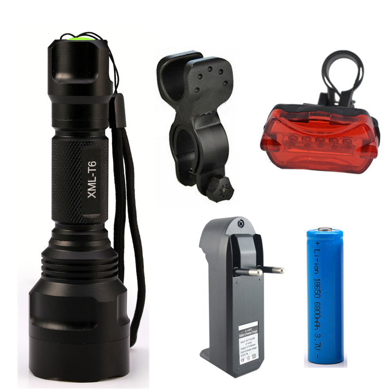 6000Lumens Bike Bicycle Light CREE XML T6 LED Flashlight Torch + Mount Holder + Warning Rear Flash Light 3800 lumens cree xm l t6 5 modes led tactical flashlight torch waterproof lamp torch hunting flash light lantern for camping z93