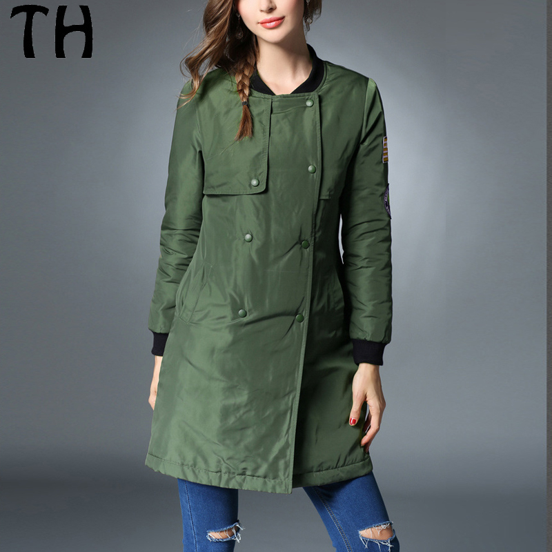 ФОТО Solid Slim Fit Warm Winter Jacket Women Parka Wadding Mid Long Casual Overcoat #161667