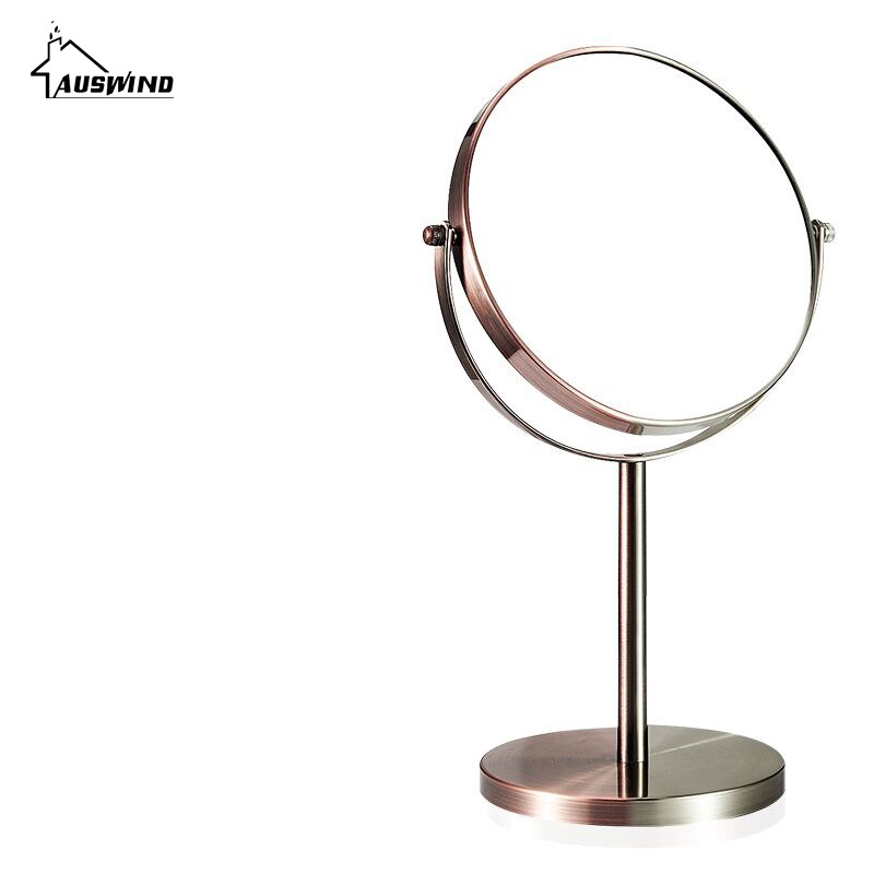 European-style Bath Mirror Makeup Magnifier Mirrors 1:1 And 1:3 360 Rotate Double Faced Cosmetic Mirror Of Desktop Mirrors Ym8 bob cosmetic makeup powder w puff mirror ivory white 02