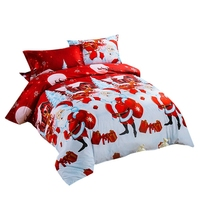 4Pcs Christmas Bedding Set over 3D Printed Santa Claus and Elk New Year Present Sheets Duvet Cover and Pillowcases
