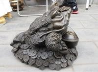 Chinesische Königliche Bronze Segen Geld Spittor Frosch Glück Fengshui riesige statue dekoration bronze factory outlets-in Statuen & Skulpturen aus Heim und Garten bei