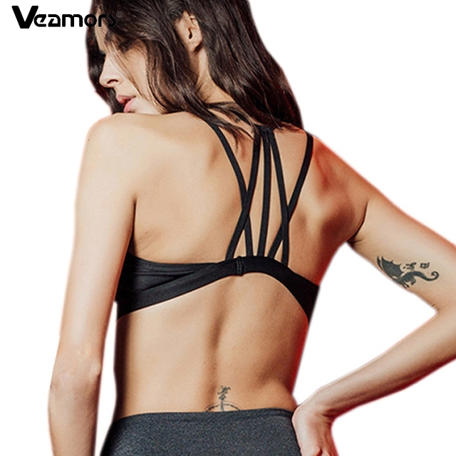 VEAMORS Mulheres Sem Encosto Cruz-Alças de Sutiã Esportivo Frente Sexy Malha  Patchwork Yoga Respirável 76b7d542f916d