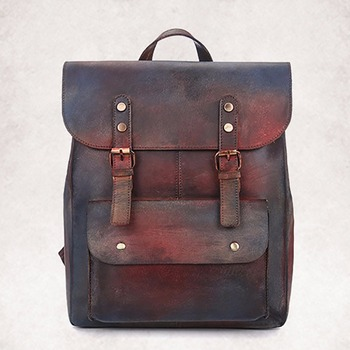Fashion Men Women Genuine Leather Backpack Gradient Color Design Casual Book Bag Rucksack Computer Bags Daypack Cowhide Knapsack